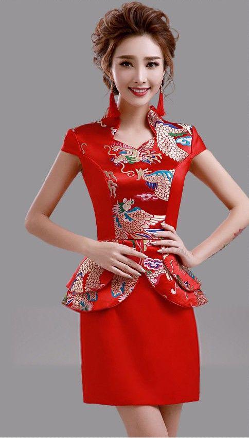 Elegant Red Mini Chinese Wedding Dress Evening Gown with Queen Ann Neck - iDreamMart.com
