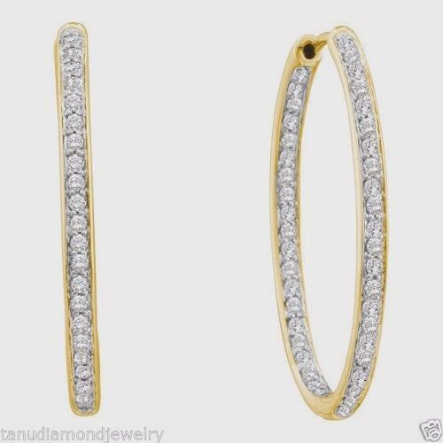 0 51ct Real Diamond Solitaire Women S Hoop Earrings Set 14k Yellow Gold Jewelry
