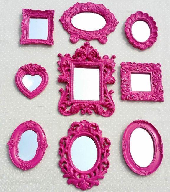 Kit 10 Espelhos com Moldura de Resina Pink