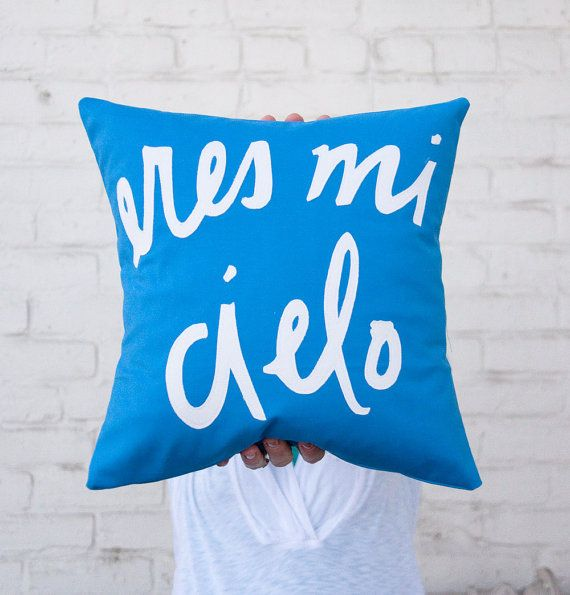 MADE TO ORDER Cobalt and White Eres Mi Cielo Pillow  by BrightJuly, $55.00
