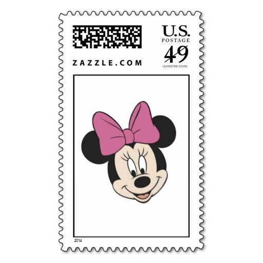 Minnie Mouse Smiling Stamp. This is customizable to put a personal touch on your mail. Add your photos or text to design your own stamp that can be sent through standard U.S. Mail. Just click the image to try it out!