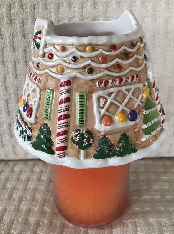 Yankee Candle Gingerbread Shade Large Medium Jar Topper Christmas Raised Design  | eBay