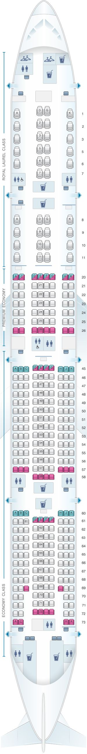 Seat Map EVA Air Boeing B777 300ER 353PAX