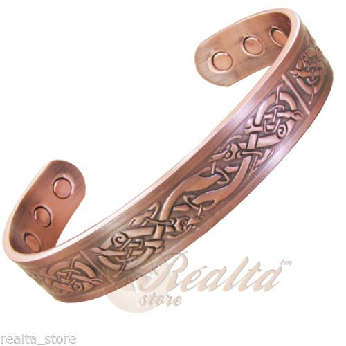 Solid-Copper-Bangle-Magnetic-Therapy-Arthritis-Injury-Pain-Relief-Viking-M Men's solid copper bangle with striking Viking warrior theme design. Combines anti-inflammatory properties of copper with magnetic therapy.