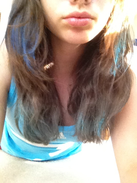 Chalked my hair for my high school's Football game tomorrow :3