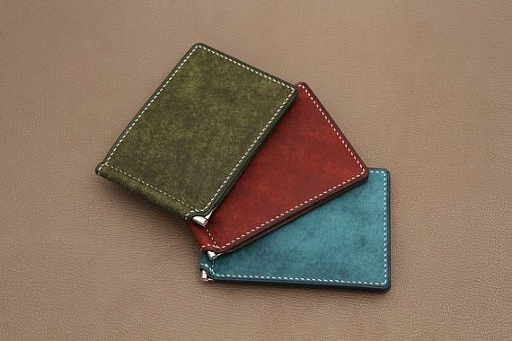Personalized leather money clip wallet Engraved money clip