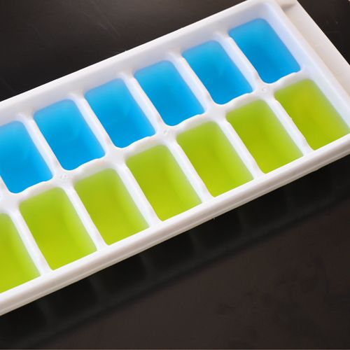 Colored ice cubes. use food coloring or mio or kool aid. interesting possibilities.
