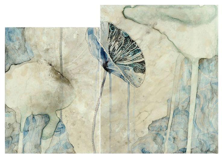 Belinda Fox: Sea study I, 2011. Size: 35 x 51cm (2 panels). Medium: watercolour, drawing on board