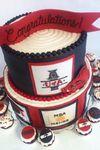"""University of Arkansas Graduation"" U of A graduation cake with edible fondant razorback, diplomas, beads,... - by seriouscupcakes: ""Custom, handmade art you can eat!"""