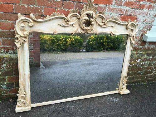 Overmantle mirror in aged rococo style