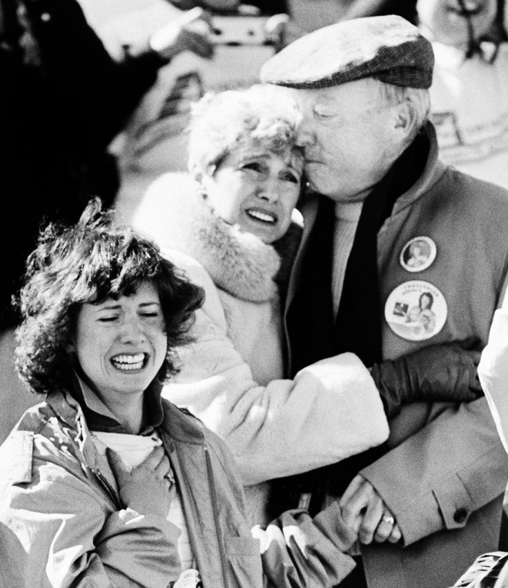 The family of Christa McAuliffe, a teacher who was Americas first astronaut, realize the horror after the Space Shuttle orbiter Challenger blew apart after liftoff from Kennedy Space Center, Florida, Tuesday, Jan. 28, 1986. The sister of Christa, Betsy, left, and parents Grace and Ed Corrigan console each other after the explosion.
