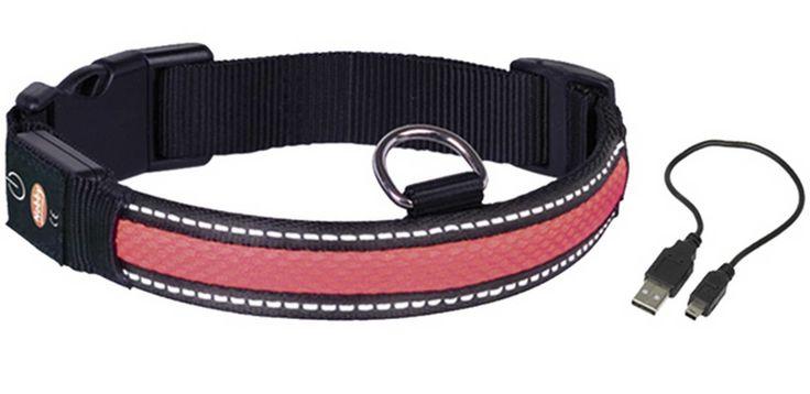 Ошейник для собак NOBBY светодиодный M/36-51см красный