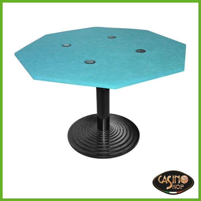 ART.0098 Tavolo con predisposizione per quattro pc.  Tavolo caratterizzato dalla forma a ottagonale e dalla base in ghisa. Panno in microfibra colore verde.  Dimensioni: 115x 115 cm, lunghezza lato 50 cm.