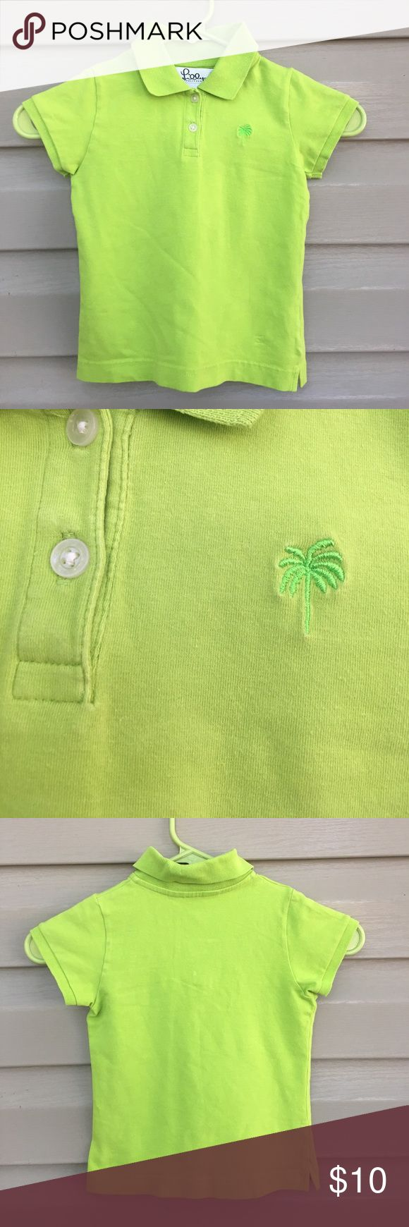 Lilly Pulitzer girls lime green polo shirt Cute 2 button polo with palm tree on front. No snags, stains or holes. 100% cotton Lilly Pulitzer Shirts & Tops Polos