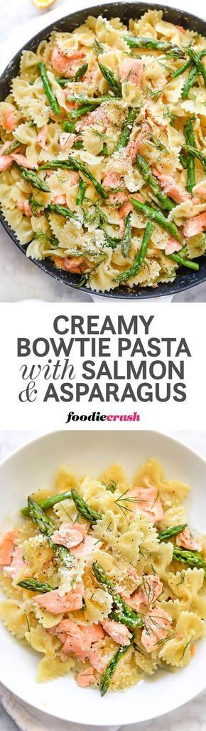 Leftover salmon gets a recipe upgrade with bowtie pasta, fresh asparagus, and dill in this super simple Parmesan cream sauce that makes meal prep a breeze | http://www.foodiecrush.com/?utm_content=buffer69bc3&utm_medium=social&utm_source=pinterest.com&utm_campaign=buffer #pasta #salmon