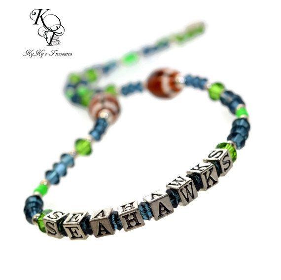 Seattle Seahawks, Seahawks Necklace, Football Jewelry, Sports Jewelry, Football…