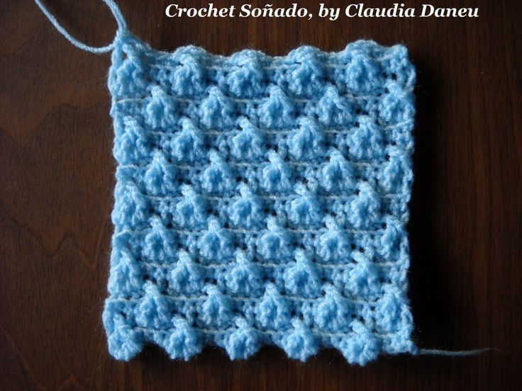 Another odd variety of crocheted double seed stitch, with crossed treble crochets and backloop single crochets. See also my jacquard version for this design ...