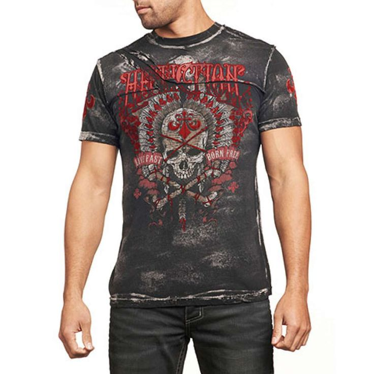 RAMBLER S/S CREWNECK W/PATCHES by Affliction Clothing