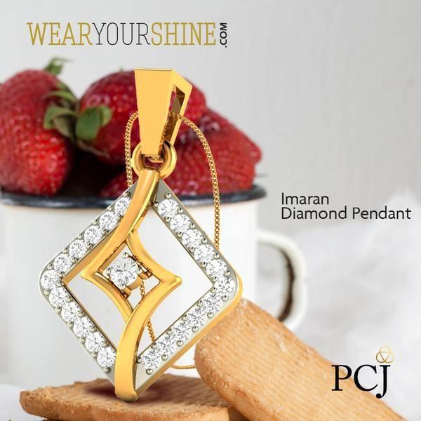 "Accessorize your look with ""The Imaran Diamond Pendant"" by WearYourShine.  #WearYourShine #Love #Pendants #Diamonds #PCJeweller #IndianJewellery #WYS #Jewelry"