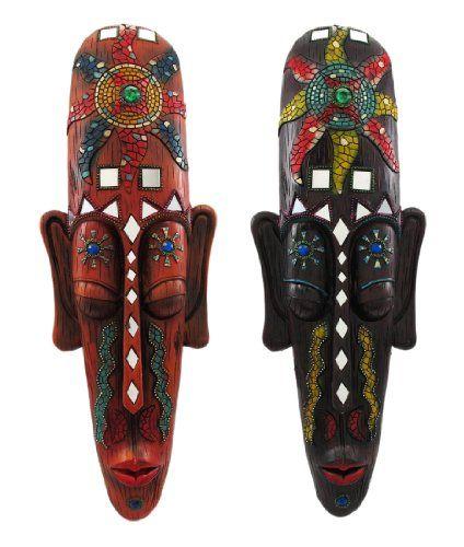Pair Of Mosaic Look African Sun Spirit Wall Masks