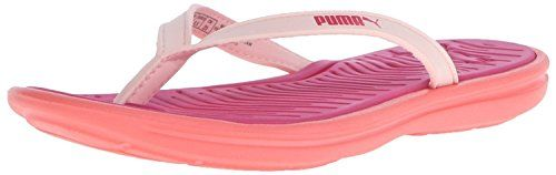 PUMA Women's Lux Flip Pro Flip Flop, Fluorescent Peach/Rose Red, 8 *** You can get additional details at the image link.