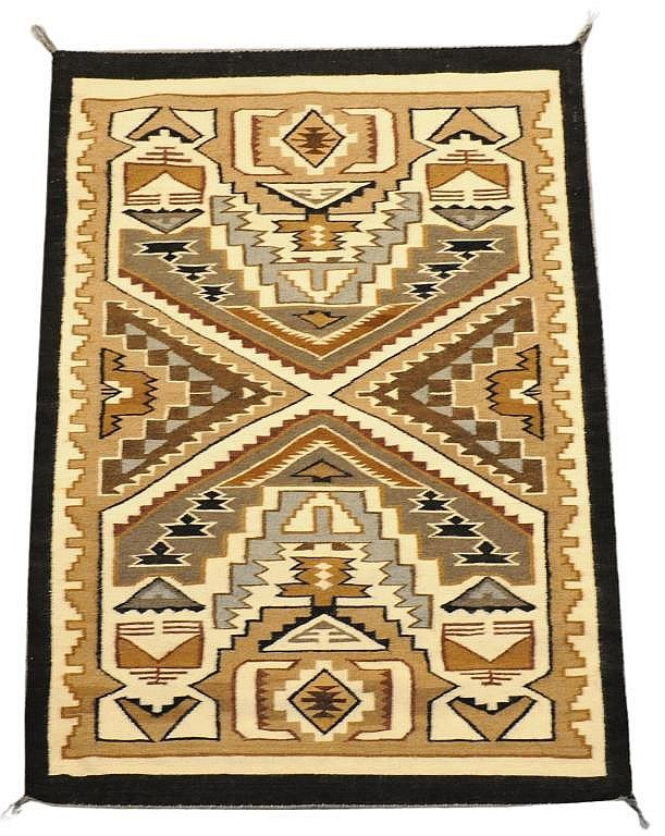 Native American Indian Weaving, Teec Nos Pos Rug In Two Gray Hills Color By  Cecilia Tsosie, #683