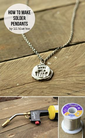 How to Make Stamped Solder Pendants using regular plumbing solder and a torch. So easy and a little material goes a really long way! Making Jewelry with Solder Tutorial by Ashley Hackshaw / Lil Blue Boo
