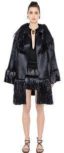 Valentino Raffia Fringe Coat Knit Luxury Cape