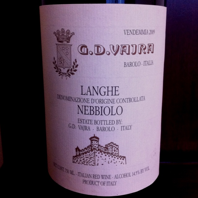 Vajra 2009 Langhe Nebbiolo.  This Nebbiolo is so nice; such a pleasure to sip.  Sweet cranberries, and cherries.  A perfect companion with a romantic film!