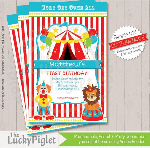 the 25+ best circus party invitations ideas on pinterest | circus, Party invitations