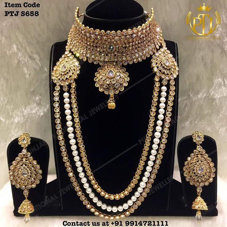 """Indian Gold Plated Stones Kundan Necklace Earrings Party: Punjabi Traditional """"Gold Plated Jhodha Choker Set With"""