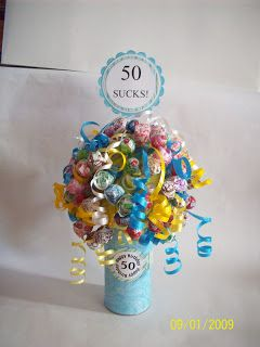 Here is another sucker bouquet. This one is for a friend to give to her daughter.