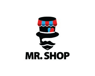 Mister Shop Logo design - Logo design of a gentleman with a hat shaped like a shop cover with price tags.  Price $299.00