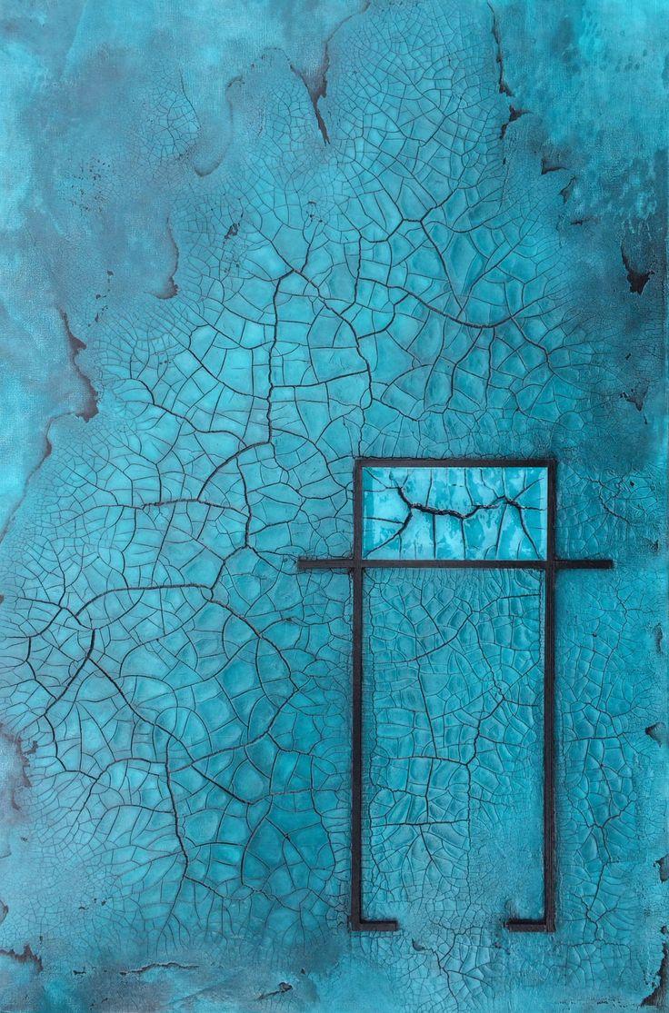 """Raku Cobalt Blue"" by Terri Deskins | $750 | 24""w x 36""h | Original Art | http://www.vangoart.co/terri-deskins/raku-cobalt-blue @VangoArt"
