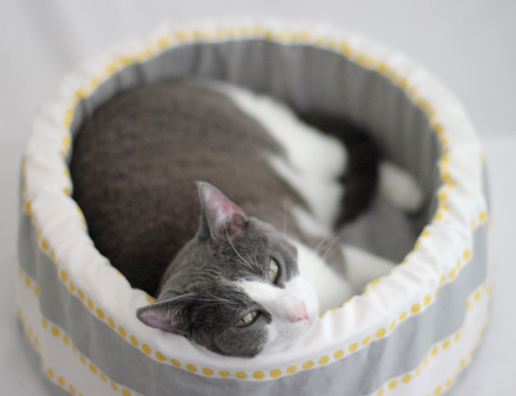 "Round Cat Bed, 12"" Self Warming Modern Cat Bed in Grey Stripe. $44.00, via Etsy."