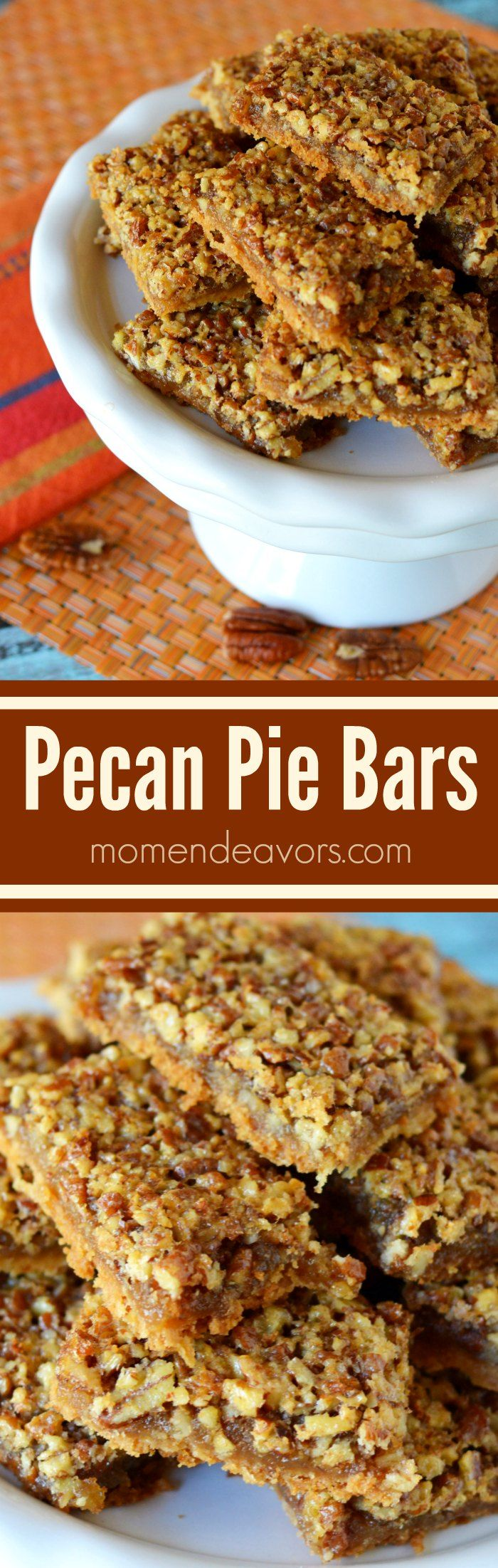 Pecan Pie Bars - a delicious twist on the classic pecan pie; a great dessert  for Thanksgiving or Christmas!