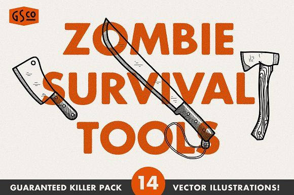 Zombie Survival Tools - Vector pack by Great Scott on @creativemarket