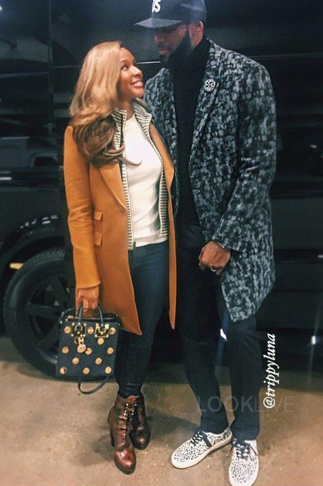 LeBron James wearing  Balenciaga Wool Coat, New Era Kith Hat, Saint Laurent Baby Cat-Print Sneaker