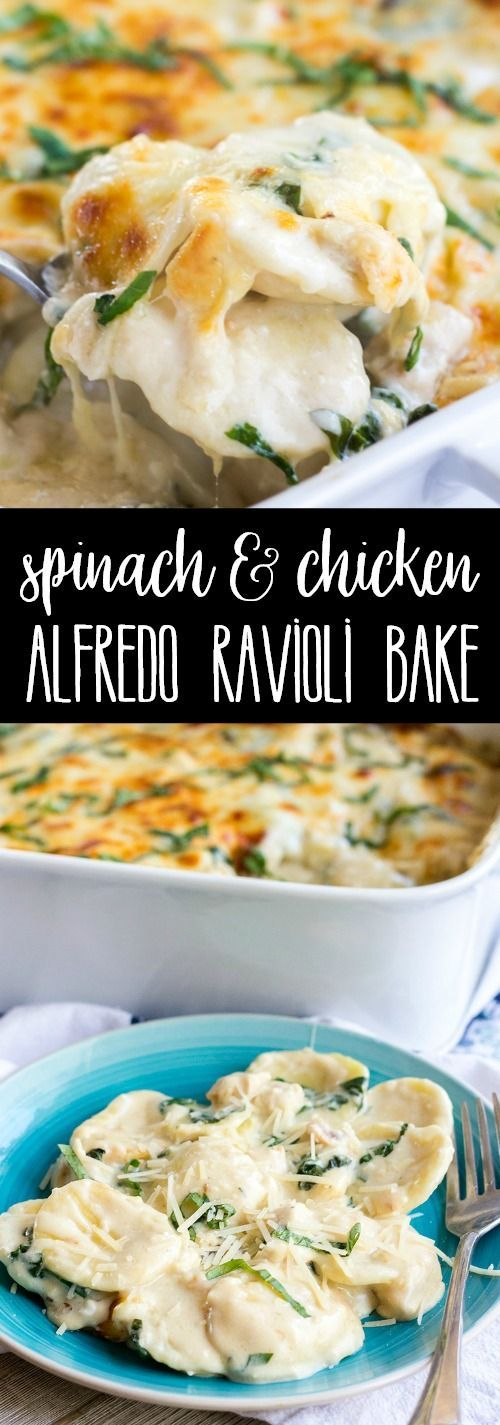 Spinach & Chicken Alfredo Ravioli Bake is a weeknight favorite the whole family loves! Loaded with a creamy sauce, chicken, and fresh spinach, this pasta bake will become part of your regular dinner rotation! via @breadboozebacon