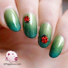 Freehand ladybug nail art