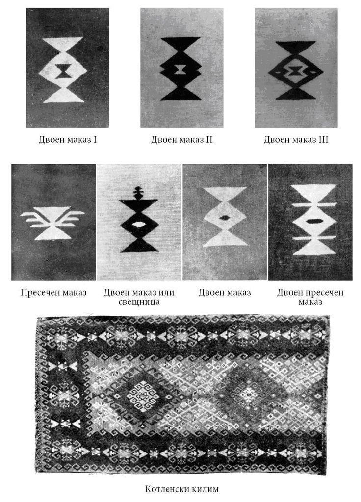 Двоен маказ - маказът е символ на мъжкото и женското начало, на божественото и земното, хармонията и уравновесеността; означава също и разклонение. Символизира сватбата.
