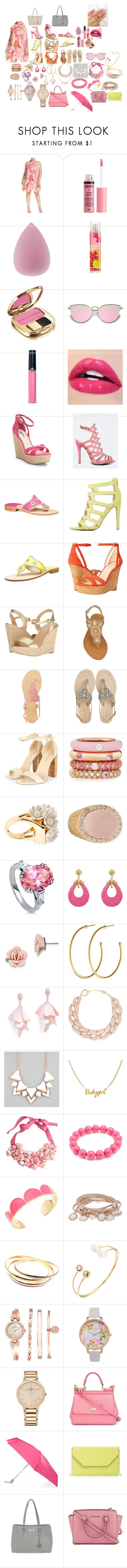 """plus size spring outfit"" by turnerjazmyne on Polyvore featuring Eliza J, Charlotte Russe, Dolce&Gabbana, Armani Beauty, BCBGeneration, Qupid, Jack Rogers, Nine West, MICHAEL Michael Kors and Olivia Miller"