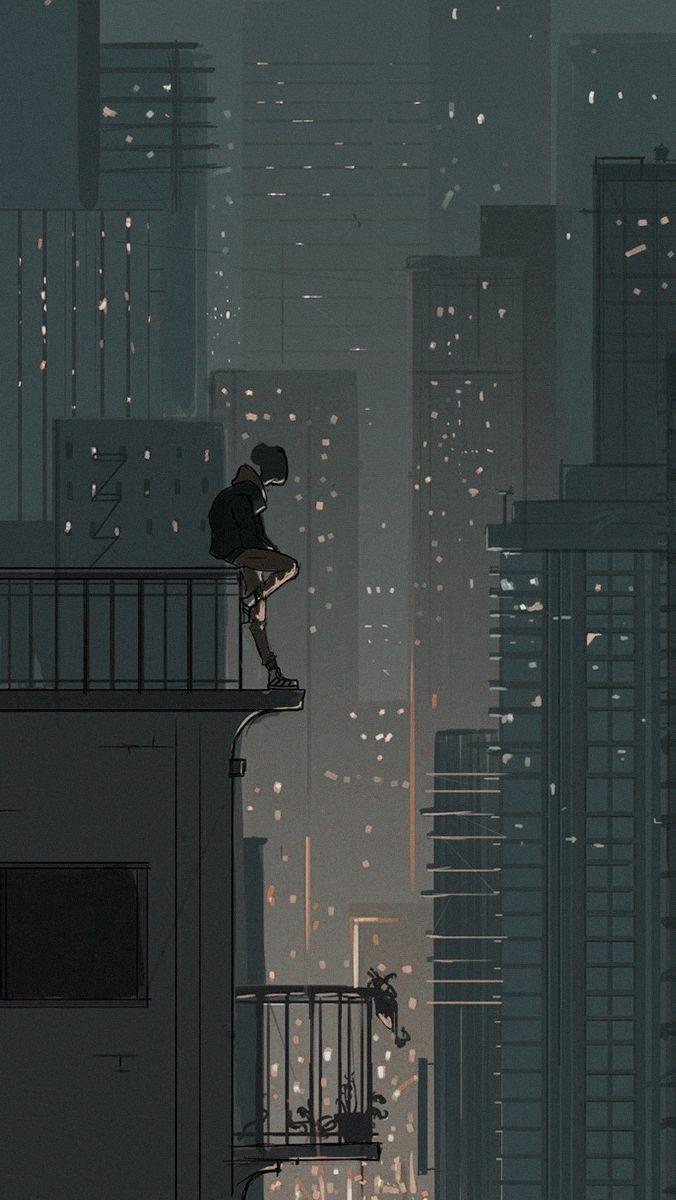 Hd Wallpaper Lonely Art Anime Scenery Wallpaper Scenery Wallpaper