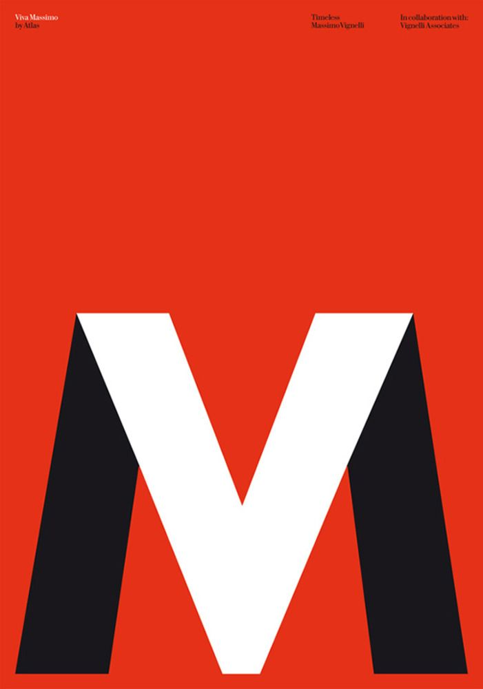 Atlas's poster celebrating the life and work of Massimo Vignelli for the exhibition Timeless