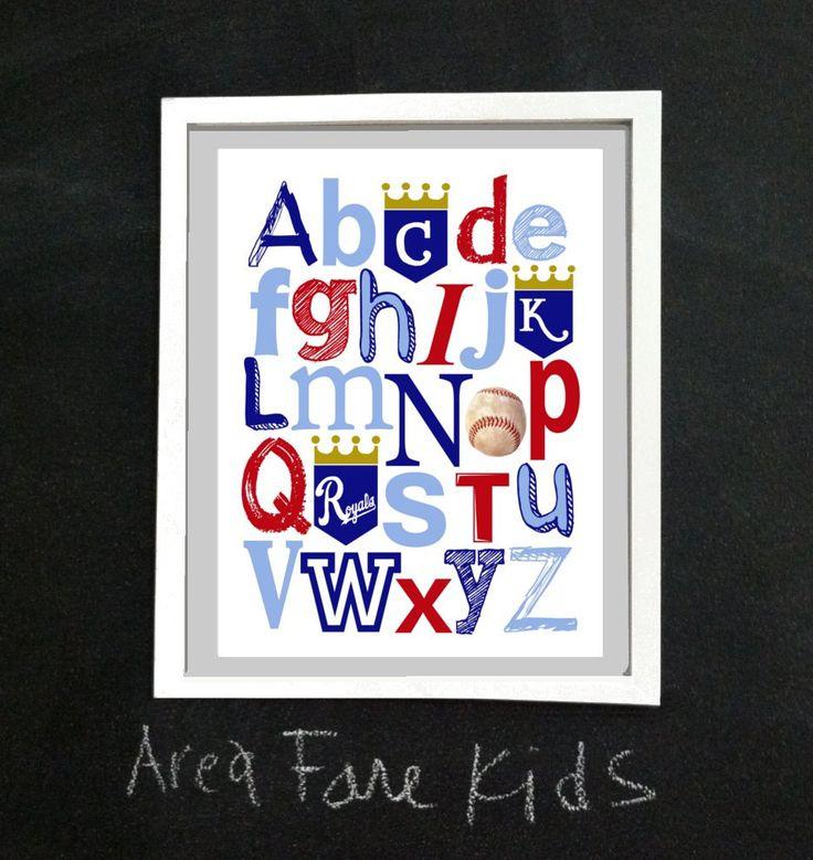 8 x 10 KC ROYALS baseball ABC Nursery Art Print. $15.00, via Etsy.