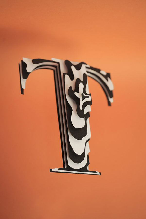 Typography project by Jerome Corgier,  using layered paper to created depth these type sculptures have shown to me the potential of paper as a medium to work with.