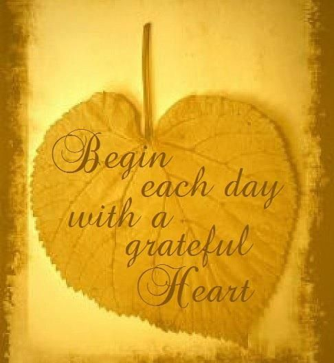 Begin each day with a thankful heart!  LOVE this!  :)