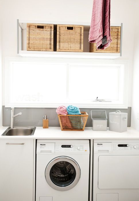 Freedom Kitchens - Kitchen Photo Gallery    Great idea for a small space or combined bathroom/laundry.