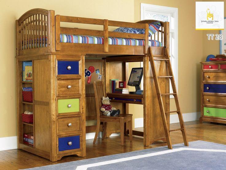 Tempat Tidur Tingkat Dengan Meja Belajar Dan Lemari