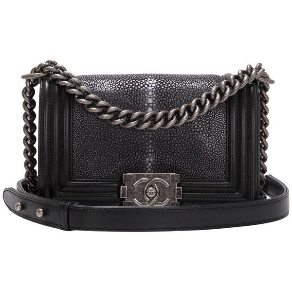 Pre-owned Chanel Black Stingray Small Boy Bag found on Polyvore